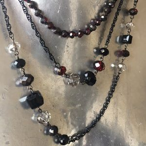 Jewelry - Crystal Chain Necklace NEW red & black